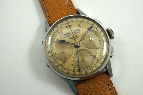Heuer 2543 early Triple Date Calendar c.1940'S stainless steel vintage for sale pre owned houston fabsuisse