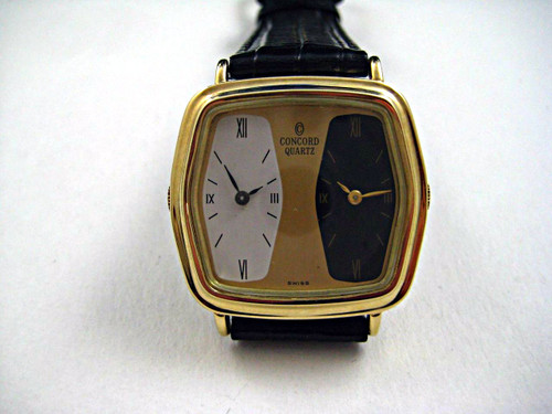 Concord  Two Time Zone Watch 14k yellow gold dates 1990's  pre owned for sale houston fabsuisse