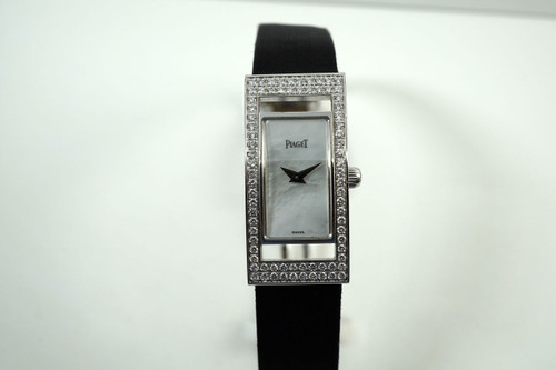 Piaget Limelight 18k white gold & diamonds w/ silk strap 2000's pre owned for sale houston fabsuisse