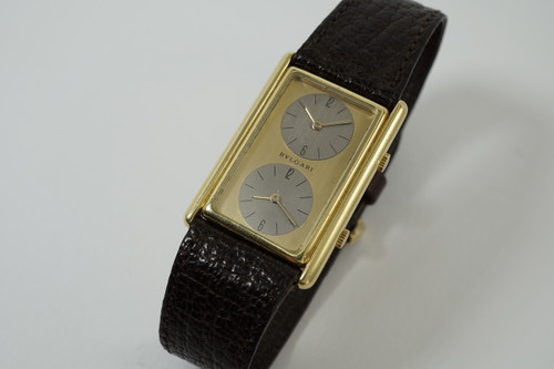 Bulgari Two Time Zones rare 18k yellow gold by Genta dates 1970's pre owned for sale houston fabsuisse