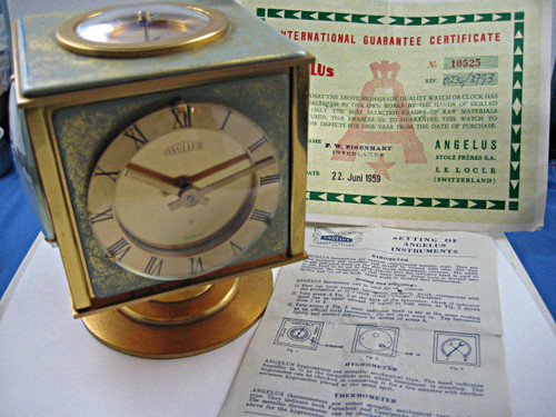 Angelus 8 Day Clock vintage w/ hygrometer, thermometer, compass box & papers c. 1959 vintage pre owned for sale houston fabsuisse