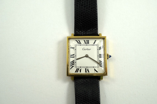 Cartier square vintage 18k electroplated gold dates 1970's vintage all original pre owned for sale houston fabsuisse