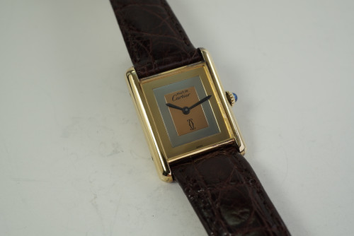 Cartier Tank vermeil silver watch dates 1970's tri-color dial all original for sale houston fabsuisse