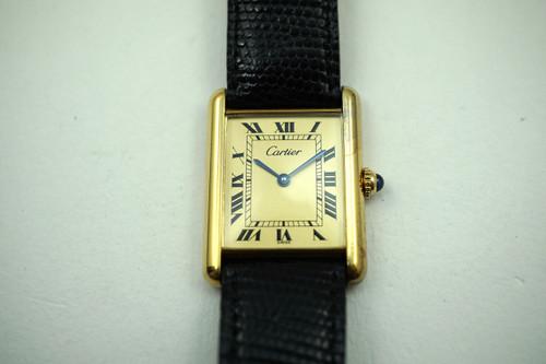 Cartier Tank vermeil silver  .925 case dates 1980's vintage original for sale houston fabsuisse