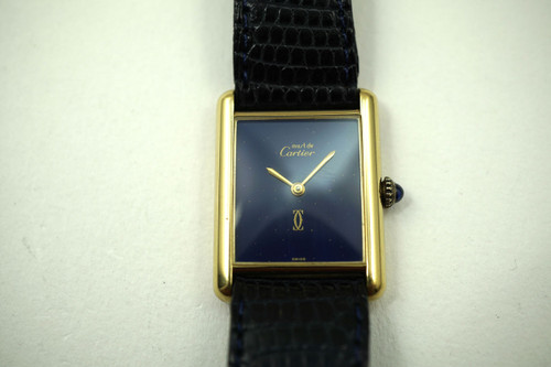 Cartier Tank vermeil silver watch dates 1970's vintage dress watch pre owned for sale houston fabsuisse