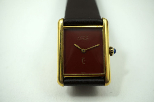 Cartier Tank vermeil silver  watch with red terracotta dates 1970's vintage all original timepiece for sale houston fabsuisse