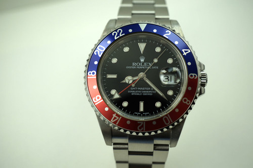 ROLEX 16710T GMT II PEPSI BEZEL STAINLESS STEEL DATES 2005 PREO-WNED FOR SALE HOUSTON FABSUISSE