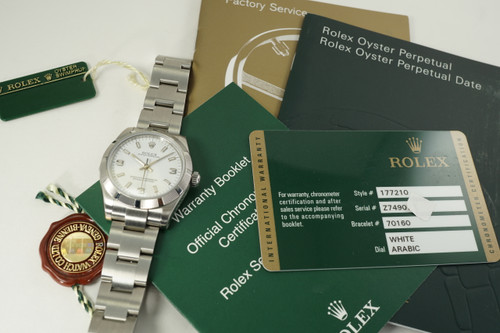Rolex 177210 Oyster Perpetual 31 mm stainless steel with card, books & tags dates 2013