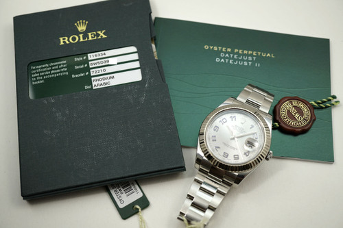 Rolex 116334 stainless steel Datejust II with booklets, card, and tags for sale houston fabsuisse pre-owned