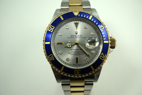 Rolex 16613 T Submariner tutone with serti dial dates 2005 yellow gold stainless steel automatic for sale Houston Fabsuisse