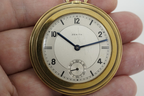 Zenith Pocket Watch art deco style 14k yellow gold dates 1940 pre owned vintage for sale houston fabsuisse