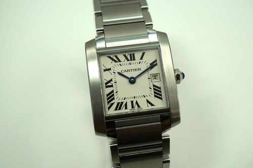 Cartier Tank Francaise W51011Q3 mid size stainless steel with date original quartz for sale houston fabsuisse