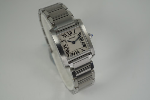 Cartier Tank Francaise  2384 ladies stainless steel pre owned for sale houston fabsuisse