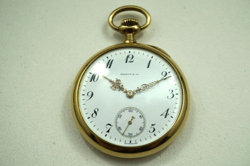 Patek Philippe Pocket Watch 18k yellow gold retailed by Shreve & Co. dates 1905-10 antique vintage timepiece for sale houston fabsuisse