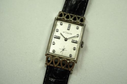 LeCOULTRE RECTANGLE DIAMOND DIAL 18K WHITE GOLD DATES 1950'S