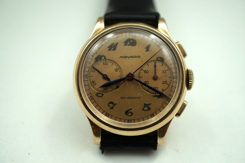 MOVADO CHRONOGRAPH 14K ROSE GOLD DATES 1940'S