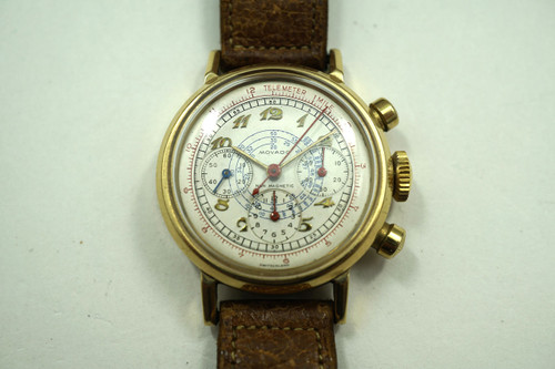 MOVADO CHRONOGRAPH RARE SOLID YELLOW GOLD 14K VINTAGE DATES 1940'S