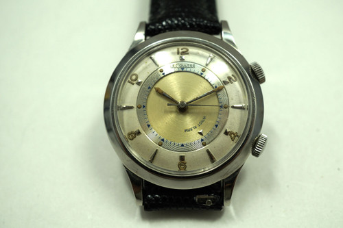 LeCoultre Alarm stainless steel watch dates 1950's vintage pre owned for sale houston fabsuisse