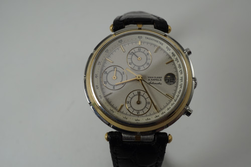 Van Cleef & Arpels 424.023 Le Chronographe steel & 18k yellow gold dates 1980's automatic movement  for sale by fabsuisse