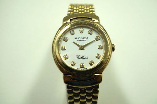 Rolex 6621 ladies Cellini 18k  w/ diamond dial dates 2007  pre-owned for sale houston fabsuisse