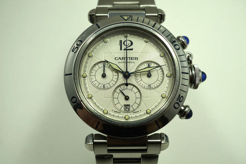 Cartier 2113 Pasha Chronograph w/ bracelet auto date dates 2000's stainless steel pre owned for sale houston fabsuisse