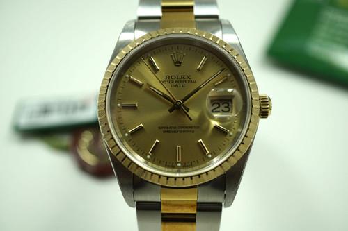 """Rolex 15223 Date 18k & steel unworn w/ box & papers """"K"""" series c. 2001 pre-owned for sale houston fabsuisse"""