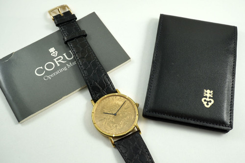 Corum Coin Watch $20 U.S Coin dial w/ box, papers and card c. 1999 yellow gold pre owned for sale houston fabsuisse