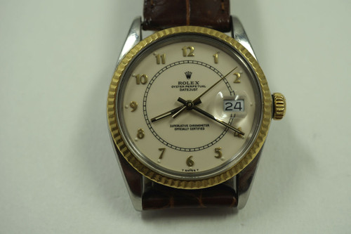 Rolex 16013 18k stainless steel c. 1984 date automatic original enamel dial for sale houston fabsuisse