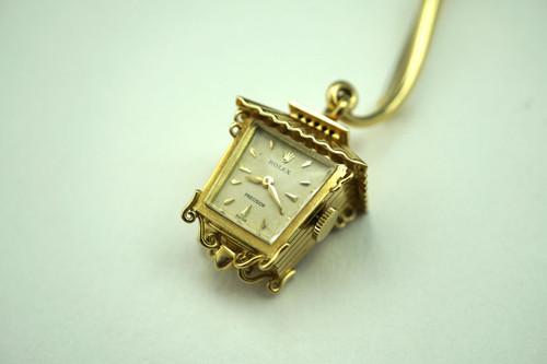 ROLEX PENDANT LANTERN WATCH 18K YELLOW GOLD DATES 1950'S