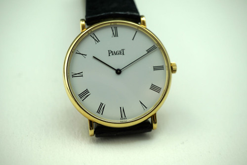 Piaget 9035 N Anonimo mecanique 18k yellow gold box, papers c. 1990's for sale houston fabsuisse