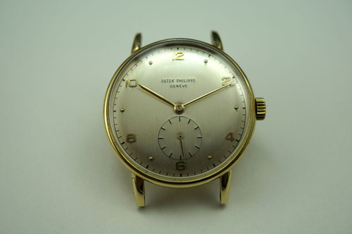 Patek Philippe 1461-1 18k yellow gold dress watch dates 1953 vintage original pre owned for sale houston fabsuisse