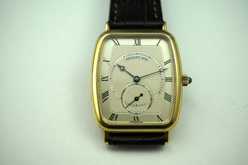 Breguet 3490 Heritage 18k yellow gold c. 1990's with guilloche dial all original for sale houston fabsuisse
