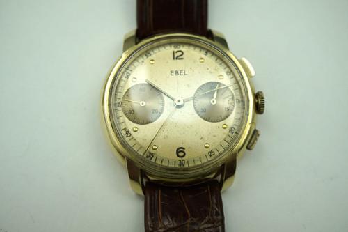Ebel Chronograph 2 register solid 18k cool vintage look pre owned for sale houston fabsuisse