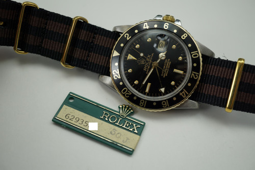 ROLEX 16753 GMT 14K & STEEL C.1979 REFINISHED DIAL