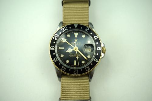 ROLEX 16753 GMT TUTONE 18K & SS. HEAD QUICKSET. DATES 1984.