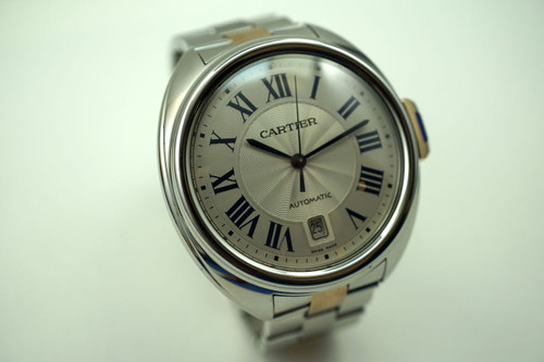 Cartier W2CL0002 Cle de Cartier steel & rose gold automatic date 41 mm modern original quartz for sale houston fabsuisse