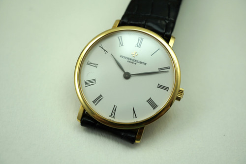 VACHERON CONSTANTIN 31039/1 18K YELLOW GOLD MODERN PATRIMONY DATES 1990'S PRE-OWNED FOR SALE HOUSTON FABSUISSE