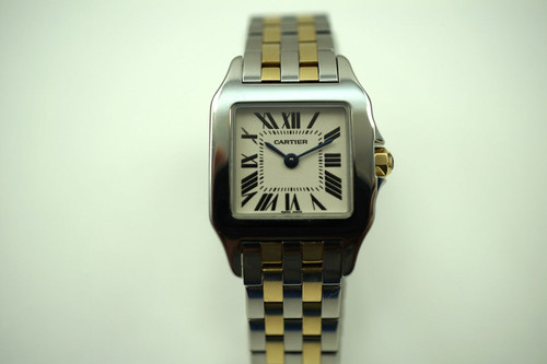 Cartier W25066Z6 ladies Demoiselle 18k yellow gold & stainless steel  modern pre owned for sale houston fabsuisse