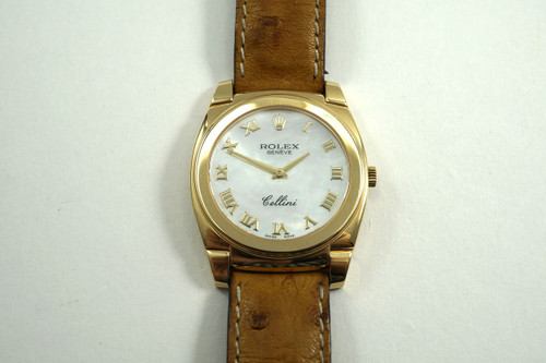 Rolex 5330 Cellini 18k yellow gold Mother of Pearl dial w/ box c. 2001 pre-owned for sale houston fabsuisse
