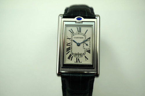CARTIER 2552 BASCULANTE REVERSO  LARGE STEEL REVERSO DATES 2000'S  PRE-OWNED FOR SALE HOUSTON FABSUISSE