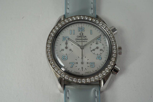 Omega 3815.71.53 Speedmaster Ladies Diamond Bezel Mop Dial C. 2000's modern original for sale houston fabsuisse