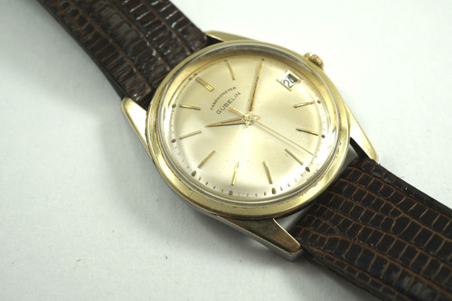 Gubelin Chronometer gold top steel case automatic dates 1960's vintage pre owned for sale houston fabsuisse