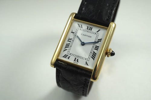 Cartier Tank classic thin 18k yellow gold square w/ 18k deployment c. 1990's for sale houston fabsuisse