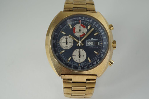 Mido 0900-2 Chronograph vintage automatic day & date c. 1970's gold plated for sale houston fabsuisse