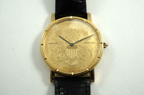 CORUM 293.645.56/0001 $20 COIN WATCH AUTOMATIC CURRENT MODEL PRE-OWNED FOR SALE HOUSTON FABSUISSE