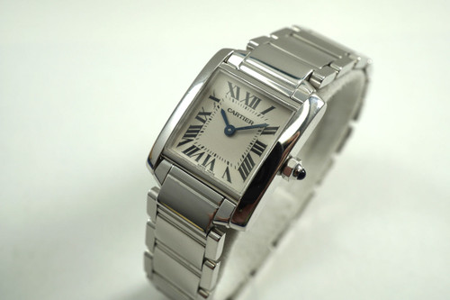 Cartier W50012S3 Tank Francaise 18k white gold dates 2000's modern original pre owned for sale houston fabsuisse