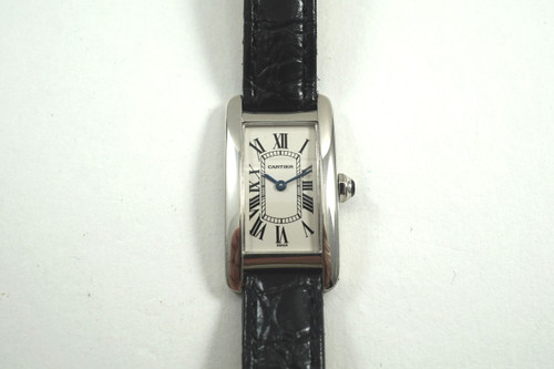Cartier W2601956 Tank American 18k white gold c. 2000's pre owned for sale houston fabsuisse
