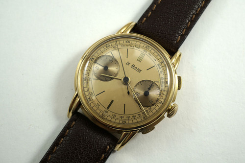 Le Phare Chronograph 18k yelllow gold fabulous original dial steeped case c. 1940's vintage pre owned for sale houston fabsuisse