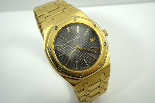 Audemars Piguet 56023 BA Royal Oak 18k yellow gold B series quartz date c. 1980's with date automatic original pre owned for sale houston fabsuisse