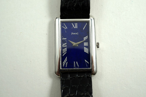 Piaget 9228 rectangle 18k white gold original lapis dial w/ deployment c. 1973 for sale houston fabsuisse